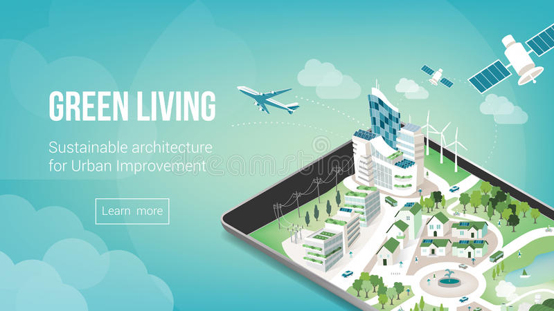 Green city banner. Green city and sustainable architecture banner with 3d metropolis on a touch screen tablet or smart phone