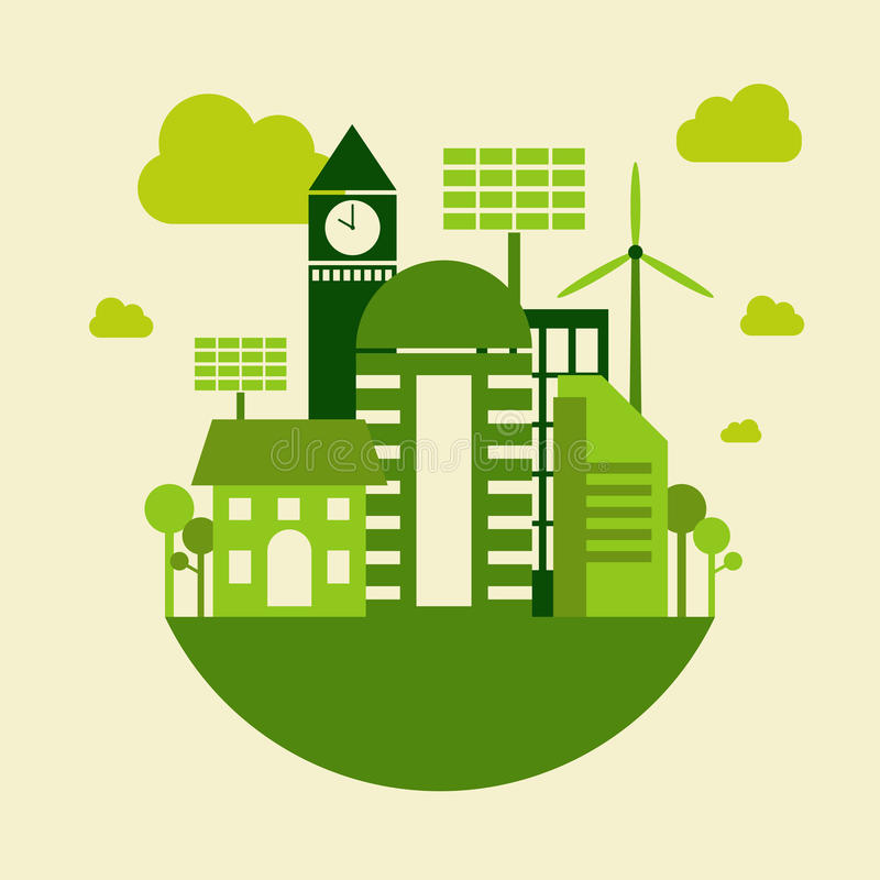 Green city building, save earth concept, vector stock illustration