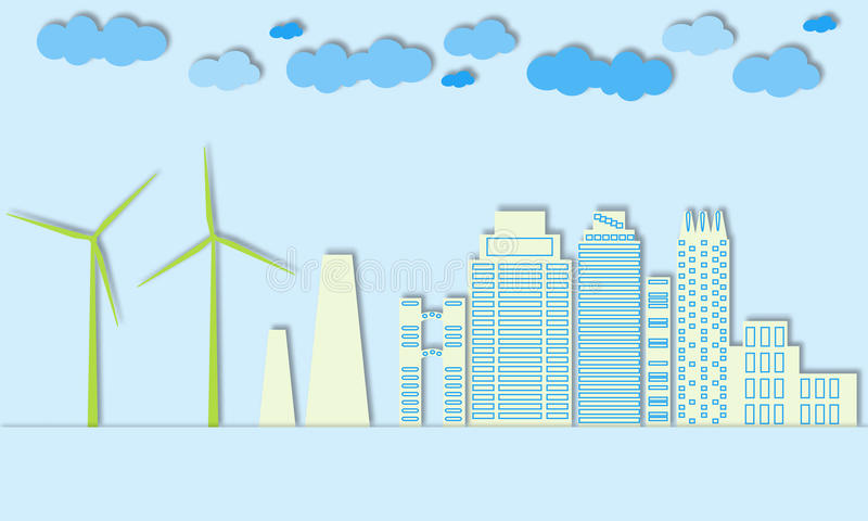 Green city concept. Eco town. Wind generators and alternative energy for large cities. vector illustration
