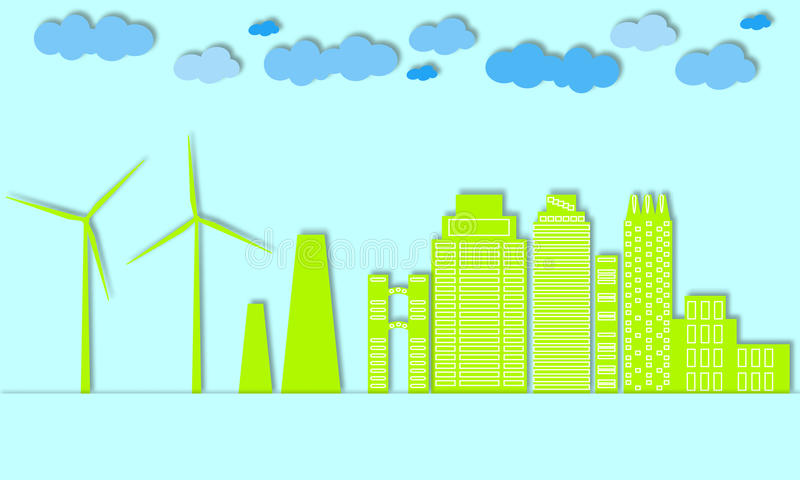 Green city concept. Eco town. Wind generators and alternative energy for large cities. stock illustration