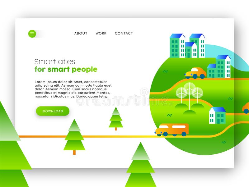 Green city eco friendly web landing page design. Online landing page of green city campaign. Internet web site template ideal for mobile ui with eco friendly vector illustration
