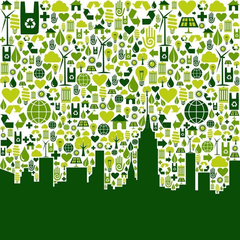 Download Green City Eco Icons Background Stock Vector - Image: 25246778