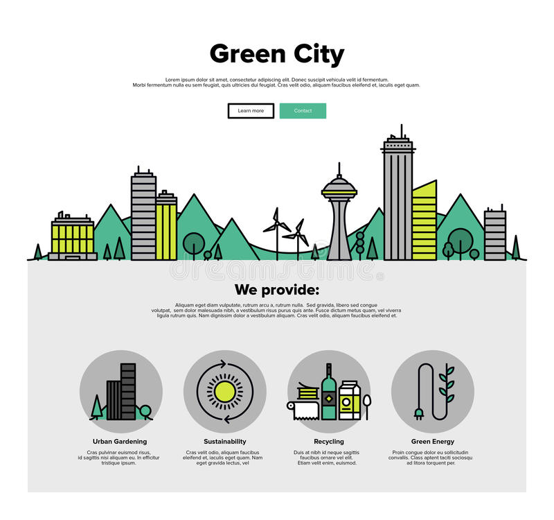 Green city flat line web graphics royalty free illustration