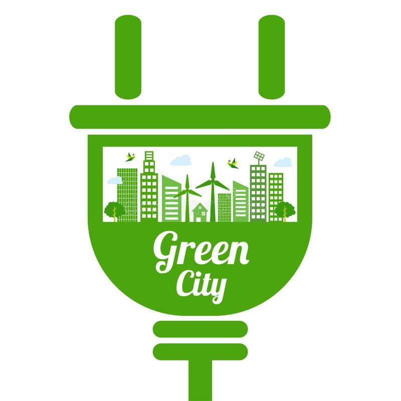 Green city icon royalty free illustration