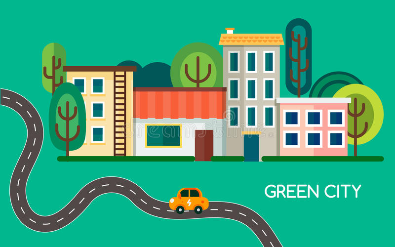 Green city with a lot of trees, waving road and electric vehicle. Small town with buildings, houses and shop. Vector vector illustration
