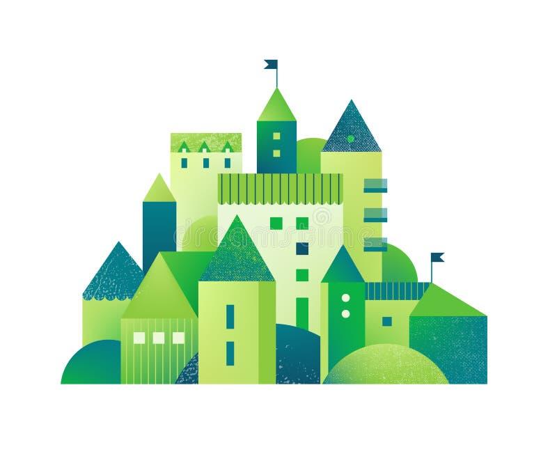 Green City met gebouwen en torens en bomen Vlakke stijl vectorillustratie met texturen Geometrische Ecostad, stock illustratie