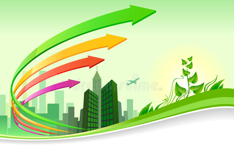 Green city progress - brochure design stock illustration