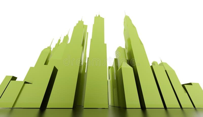 Green city scene rendered stock illustration