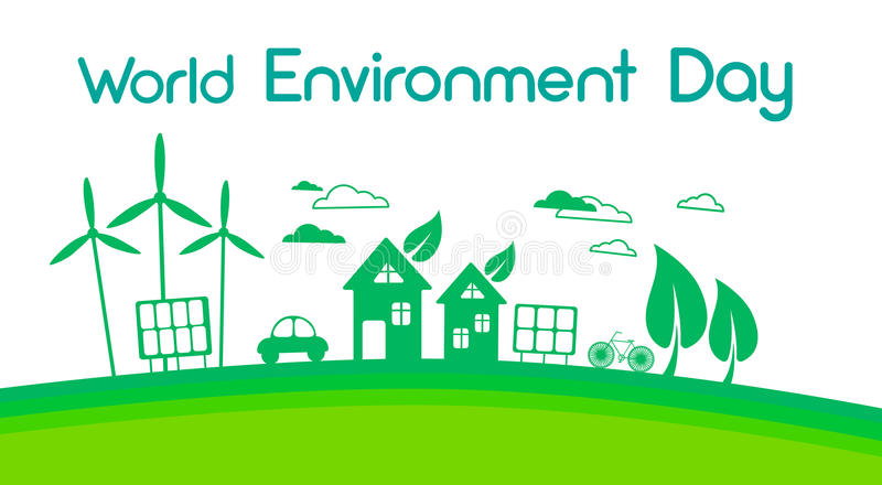 Green City Silhouette Wind Turbine Solar Energy Panel World Environment Day royalty free illustration