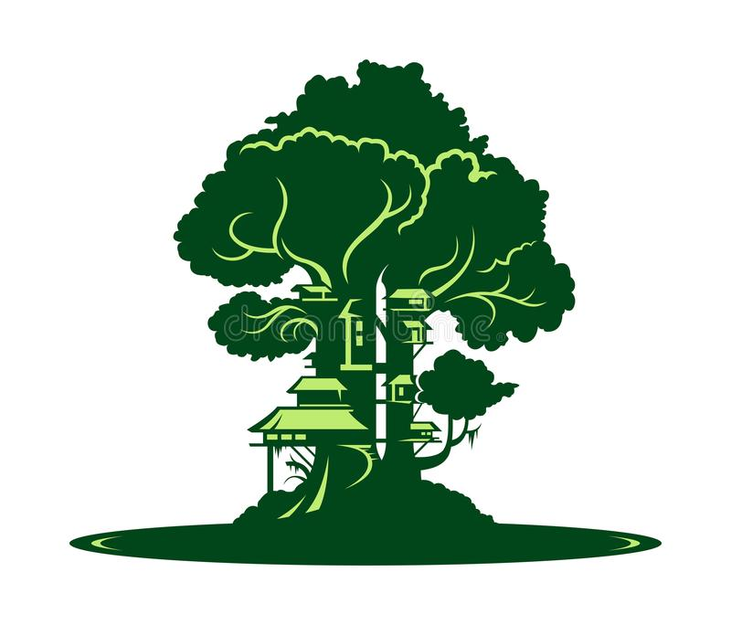 Green city or village on tree background. City or village on tree ecology concept design royalty free illustration