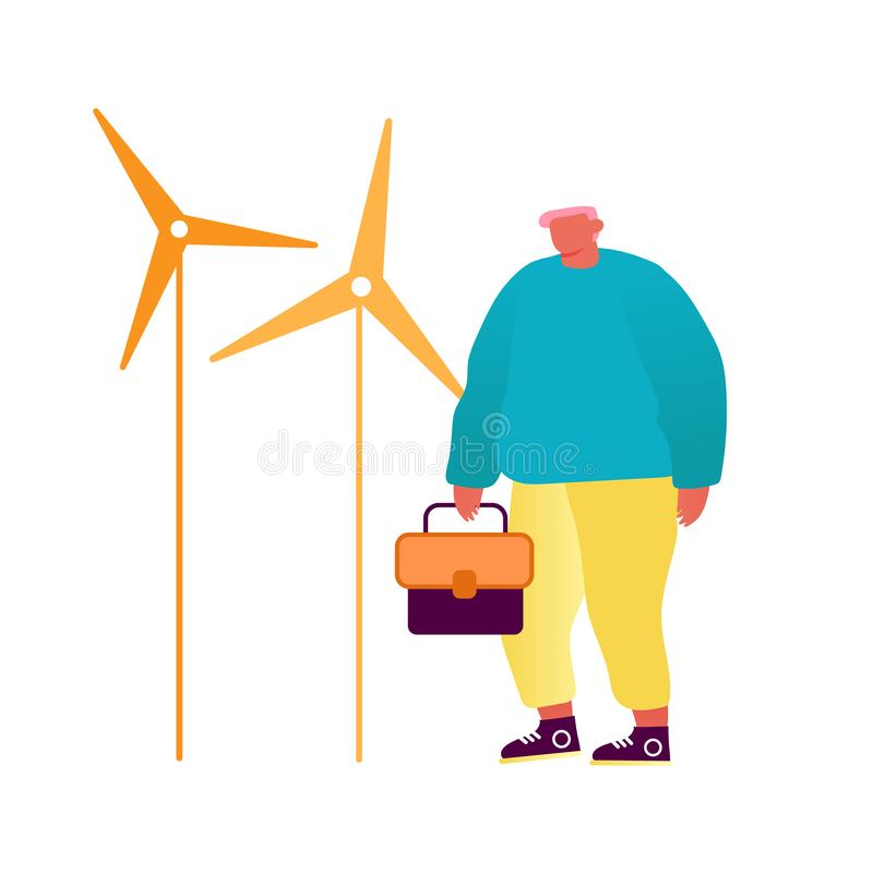 Green City Wind Turbines, Clean Nature Ecology Environment Concept. Man Operator or Engineer with Tool Box in Hands royalty free illustration