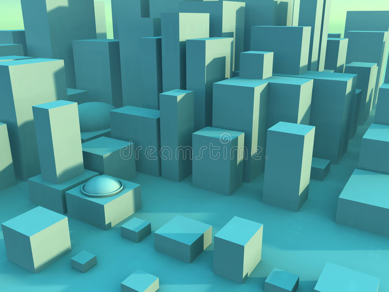 Green Cityscape stock illustration