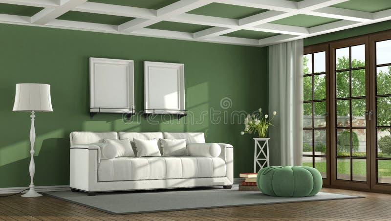 Green classic living room vector illustration