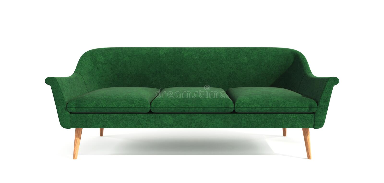 Green classic modern stylish sofa with wooden legs isolated on white background. Furniture, interior object, stylish sofa. Single. Piece of furniture royalty free stock images