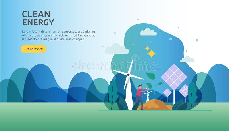 Green clean energy sources. renewable electric sun solar panel and wind turbines. environmental concept with people character. web. Landing page template royalty free illustration