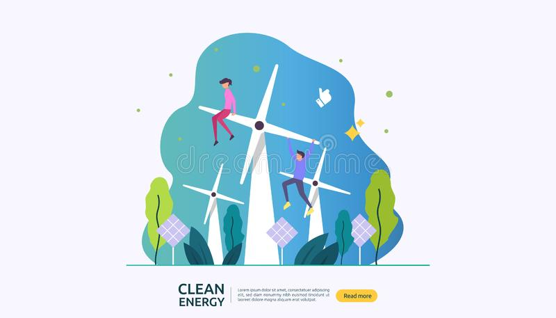 Green clean energy sources. renewable electric sun solar panel and wind turbines. environmental concept with people character. web. Landing page template stock illustration