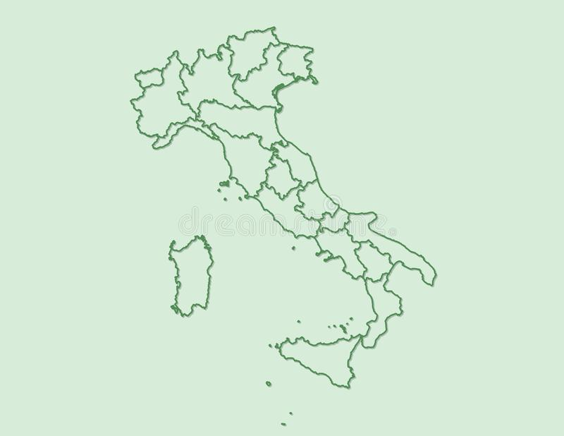 Clear Map Of Italy.Italy Administrative Divisions Map On White No Text Stock Vector