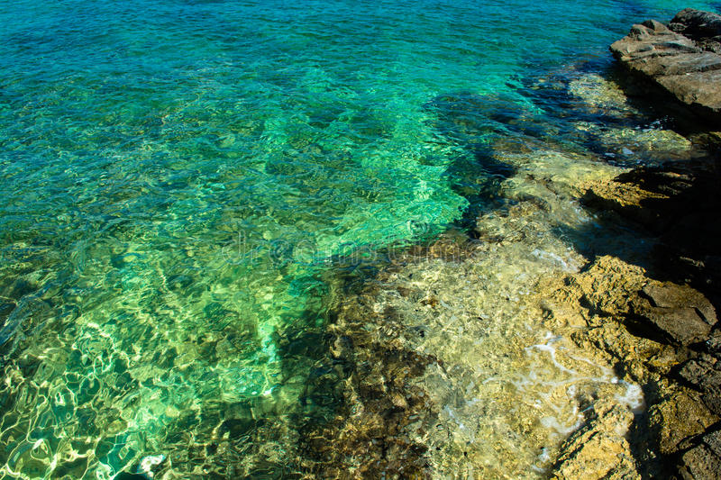 Green Clear Water at the Coast of Croatia stock photos