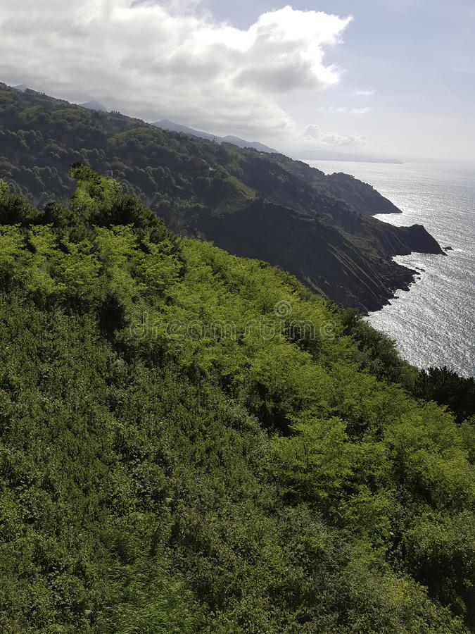 Green cliffs in the cantabrian coast. Spain royalty free stock images