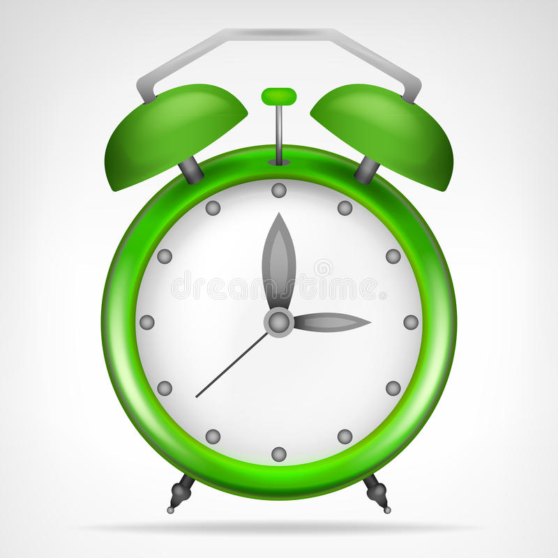 Green clock with running time object. Green clock with running time isolated vector illustration vector illustration