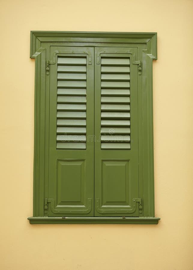 Green close window at Athens Greece stock image