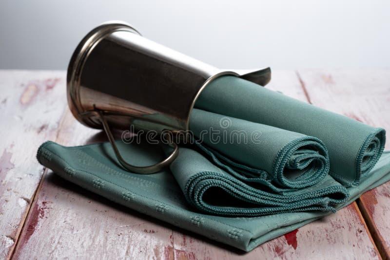 Green cloth napkins stock photography
