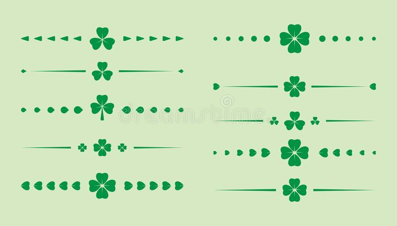 Green clover dividers - vector set for saint patrick day royalty free illustration