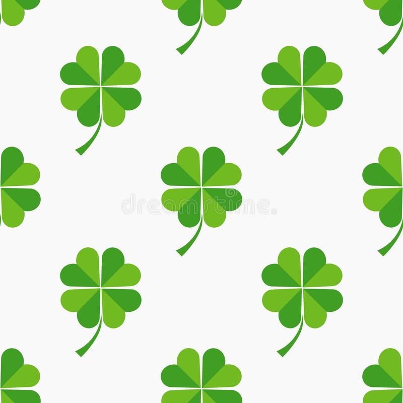 Green clover leaves seamless pattern vector illustration
