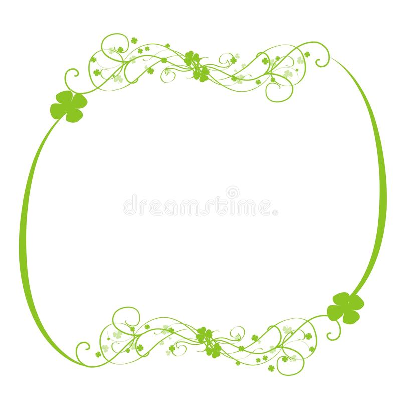Green clovers swirls frame. A white background with a green frame of big swirls and clovers patterns royalty free illustration