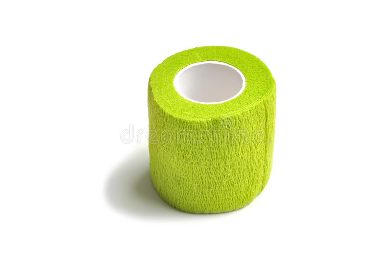 Green coban. Coban used to prevent injury caused by sport exercise or use of the joints or parts royalty free stock photography