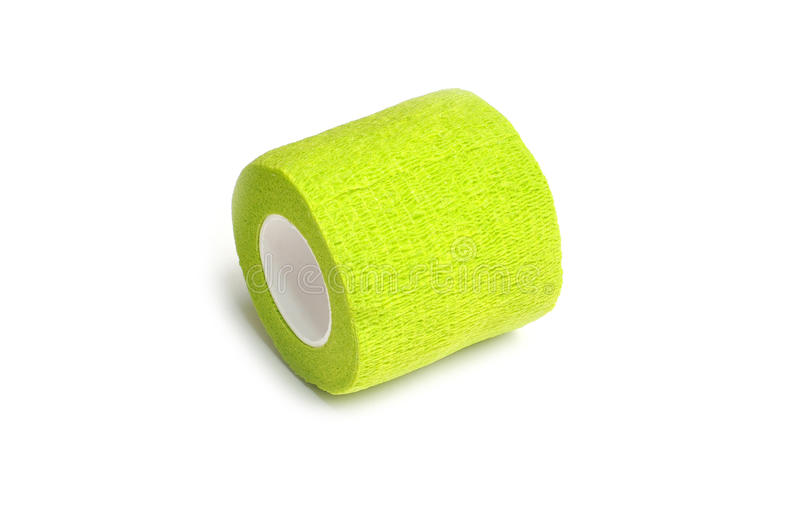 Green coban. Coban used to prevent injury caused by sport exercise or use of the joints or parts stock images