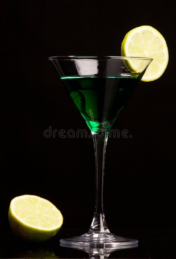 Green Cocktail With Green Lemon Royalty Free Stock Photo