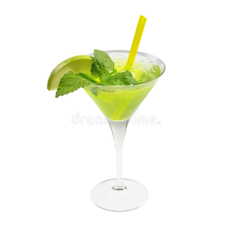 Green cocktail ice and mint royalty free stock images