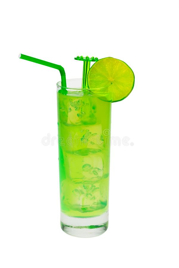 Green cocktail with lime stock images