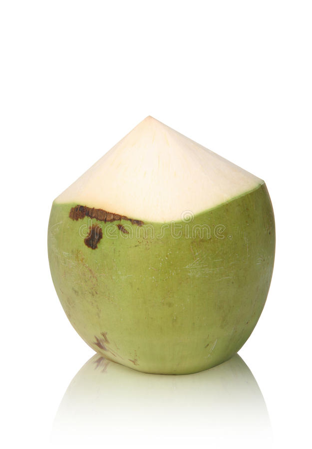Green Coconut. On white background stock photo