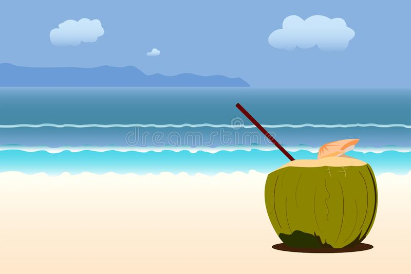 Green coconut cocktail on a beach royalty free illustration