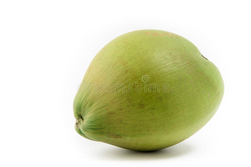 Green coconut on white royalty free stock photo