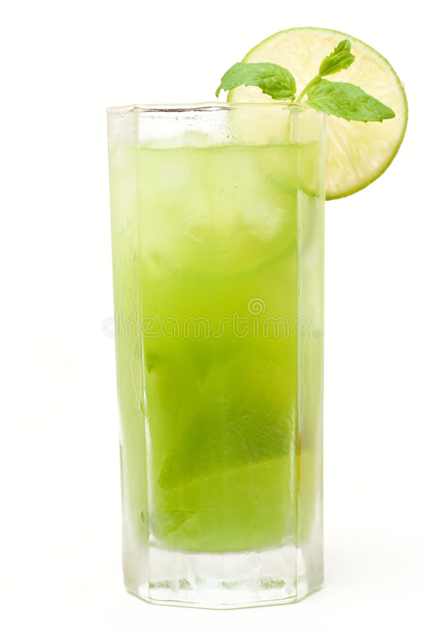 Green coctail with lime. Mint and ice stock photography