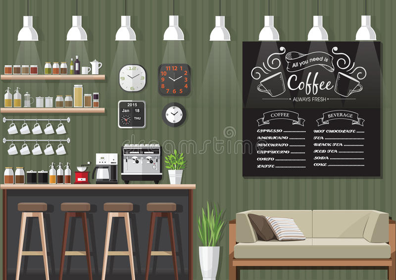 green coffee shop interior stock vector image 66228640. Black Bedroom Furniture Sets. Home Design Ideas