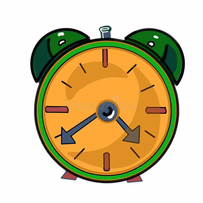 green color clock and white background royalty free illustration