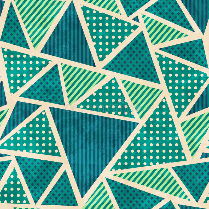 Green color fabric seamless pattern with grunge effect stock illustration