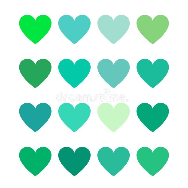 Green color hearts - flat color. Love stock illustration