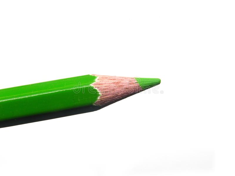 Green color pencil tip on white background stock image