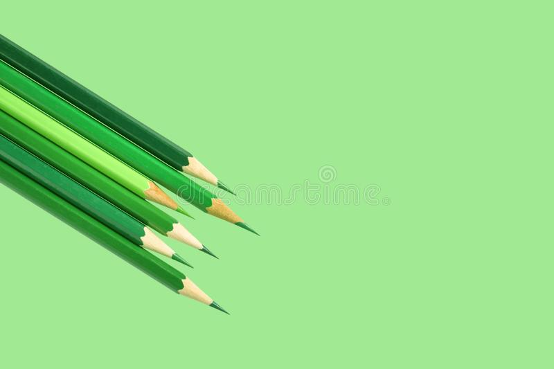 Green color pencils stock photography