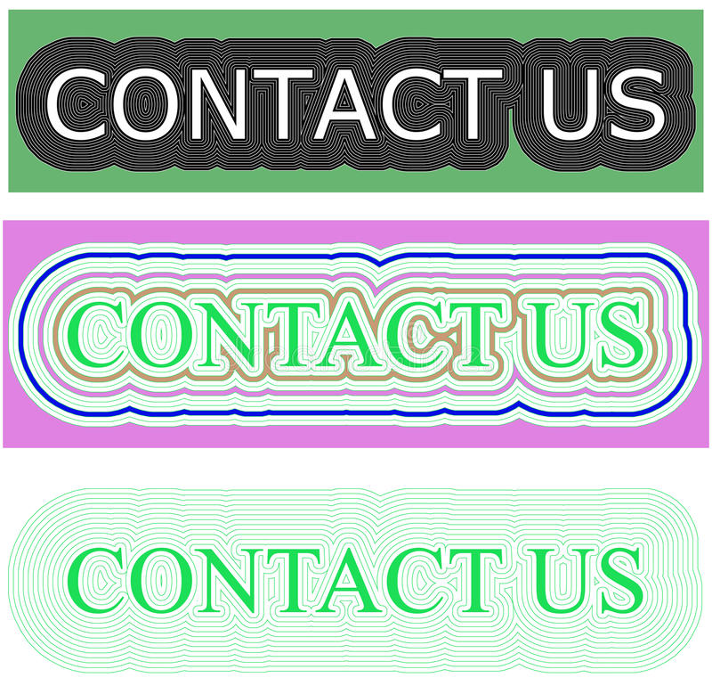 Green color rectangular background with contact us spell stock photos