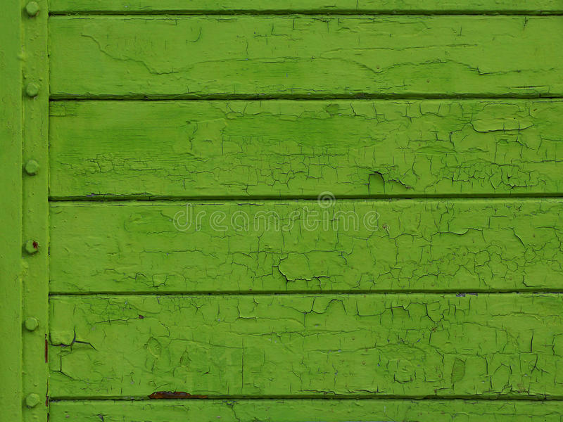 Green colored old wood plank with rivets. Texture background stock illustration