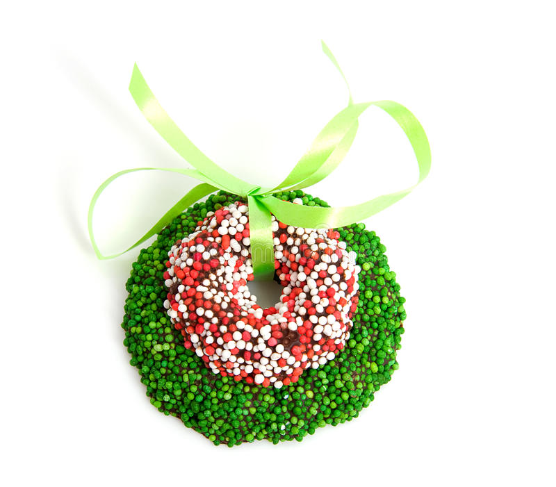 Download Green And Colored Speckled Christmas Candy Wreath Stock Image - Image: 12253755