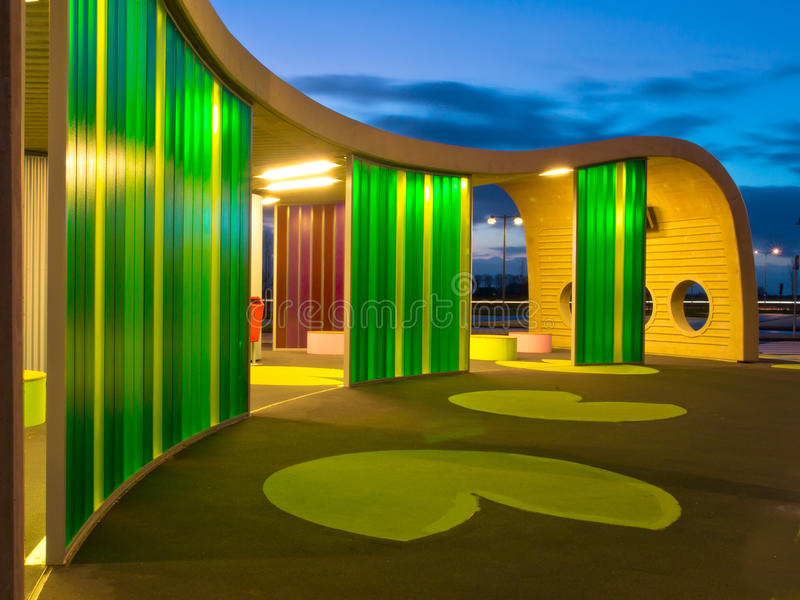 Green colored waiting area. Of a busstation stock photography