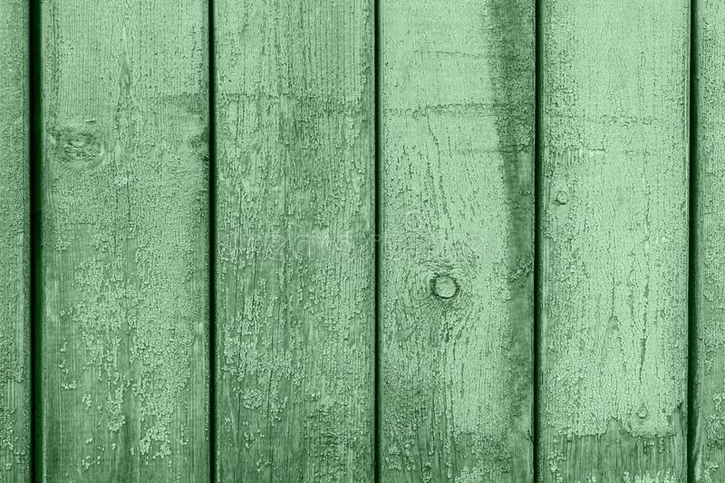 Green colored wood planks texture background. Trendy color of 2020. Wooden boards old style abstract background. Backgrounds and royalty free stock images