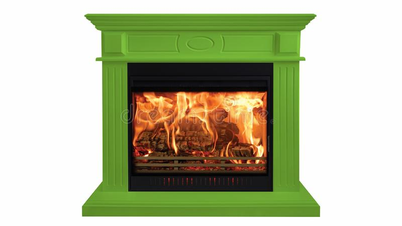 Green colorful burning classic fireplace isolated on white background stock images